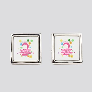 2nd Birthday with Balloons - Pink Square Cufflinks
