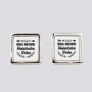 World's Most Awesome Administrati Square Cufflinks