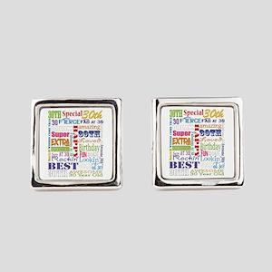 30th Birthday Typography Square Cufflinks