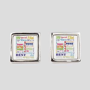 75th Birthday Typography Square Cufflinks