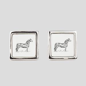 Morgan Horse In Pen & Ink Square Cufflinks