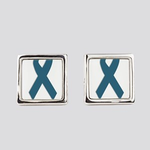 Strong. Teal Ribbon Square Cufflinks