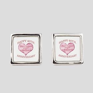 40th. Anniversary Square Cufflinks