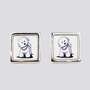 KiniArt Bichon In Pearls Square Cufflinks