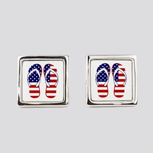 American Flag flip flops Square Cufflinks