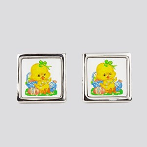 Vintage Cute Easter Duckling And Square Cufflinks