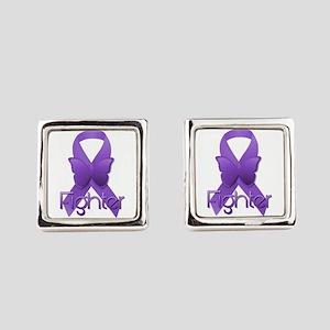 Purple Ribbon: Fighter Square Cufflinks
