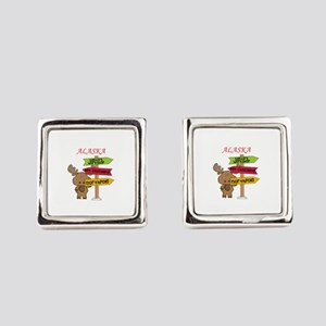 Alaska Moose What Way To The Nort Square Cufflinks