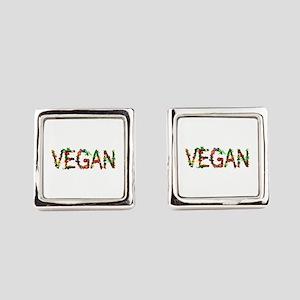 Vegan Vegetables Square Cufflinks