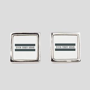 Personalized Gray Striped Square Cufflinks