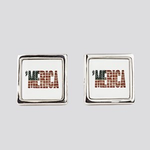 Vintage Distressed MERICA Flag Square Cufflinks