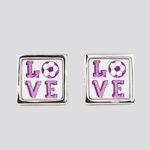 Girly Love Soccer Square Cufflinks