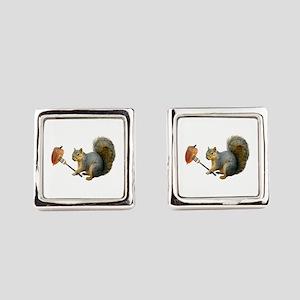Squirrel Acorn Fork Square Cufflinks