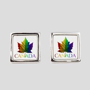 Gay Pride Canada Souvenir Square Cufflinks