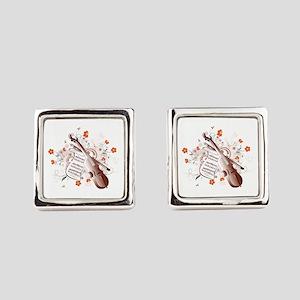 Floral Violin Square Cufflinks