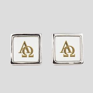"""3-D"" Golden Alpha and Omega Symbol Cufflinks"
