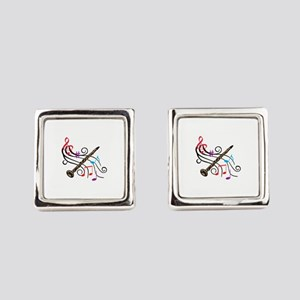 CLARINET WITH MUSIC Square Cufflinks