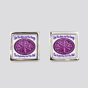 Chi Rho Alpha Omega Square Cufflinks