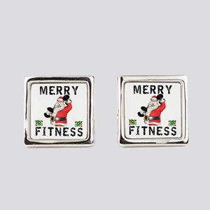 Merry Fitness Santa Square Cufflinks