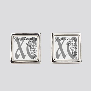 Cross Country XC grey gray Square Cufflinks