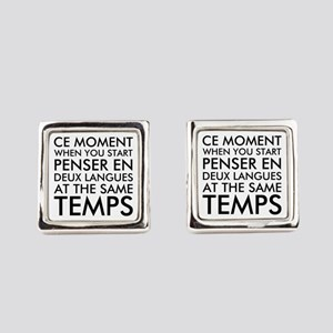 Thinking in French and English Square Cufflinks