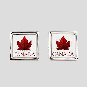Canada Flag Maple Leaf Square Cufflinks