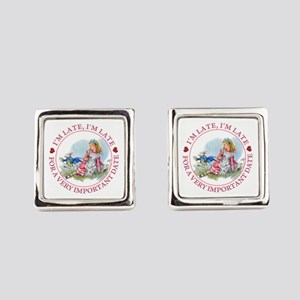 I'm Late , I'm Late, For a Very I Square Cufflinks