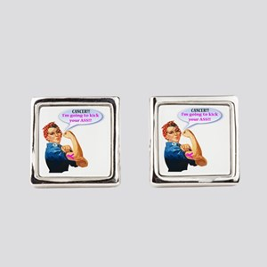 Rosie Fighting Cancer Design Square Cufflinks