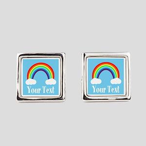 Personalizable Rainbow Square Cufflinks