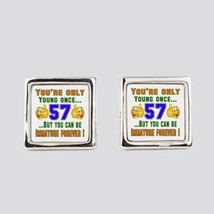 You're only young once..57 Square Cufflinks