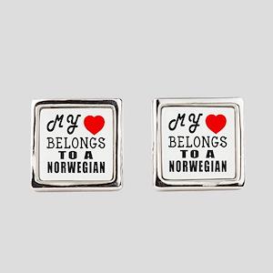 I Love Norwegian Square Cufflinks