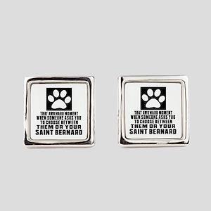 Saint Bernard Awkward Dog Designs Square Cufflinks