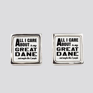 All I care about is my Great Dane Square Cufflinks