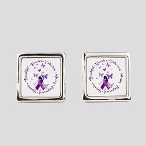 Purple Ribbon with Empowering Wor Square Cufflinks