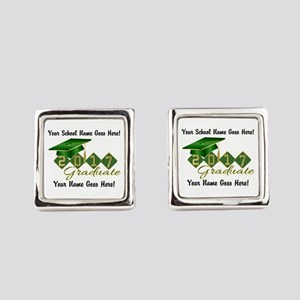 Graduate 2017 Green Gold Square Cufflinks