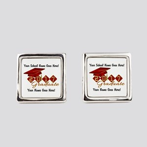 Graduate 2017 Red Gold Square Cufflinks