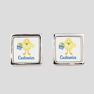 Custom Easter Chick Square Cufflinks