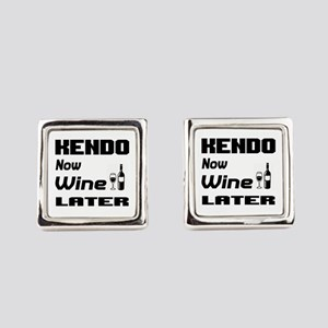 Kendo Now Wine Later Square Cufflinks