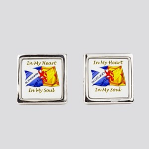 In My Heart Scotland Darks Square Cufflinks