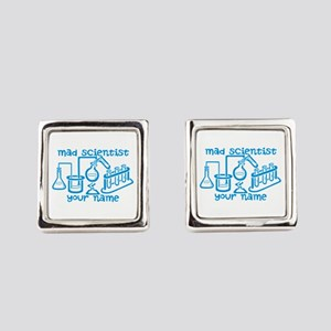 Personalized Mad Scientist Square Cufflinks