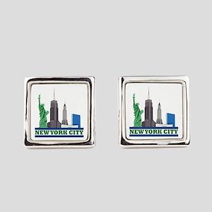 New York City Skyline Square Cufflinks