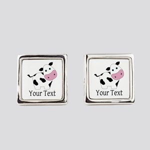 Personalizable Black and White Cow Square Cufflink