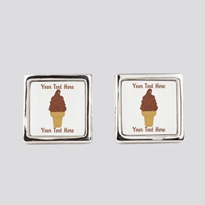 Personalized Chocolate Ice Cream Square Cufflinks
