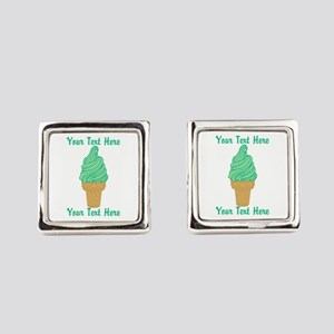 Personalized Mint Ice Cream Square Cufflinks