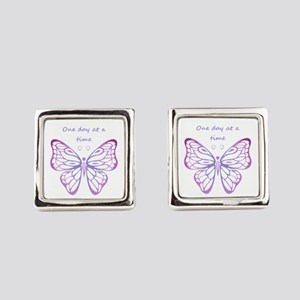 One Day at a Time Quote Butterfly Art Square Cuffl