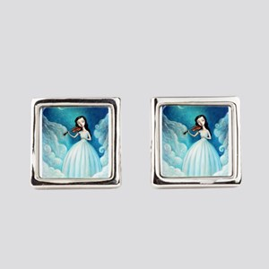 Girl with Moon and Violin Square Cufflinks