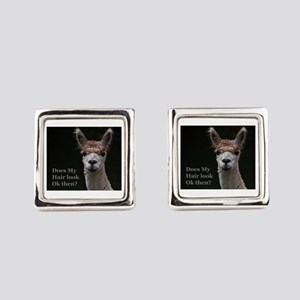 Alpaca with funny hairstyle Square Cufflinks