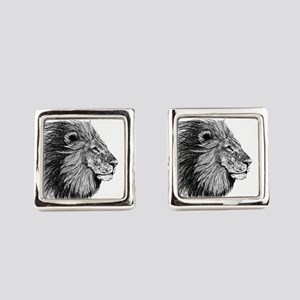 Lion (Black and White) Square Cufflinks