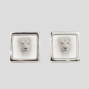 White Lion Head Square Cufflinks