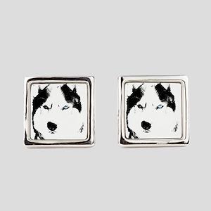 Husky Bi-Eye Husky Dog Square Cufflinks